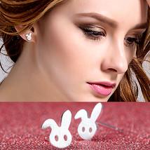Women Silver Stud Earrings Female White Rabbit Animal Child Jewelry Girl Gift - $7.99