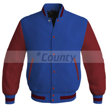 Letterman Baseball College Super Bomber Jacket Sports Royal Blue Maroon ... - $49.98+