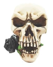 "Atlantic Vampire Skull With Black Rose Statue Halloween Spooky Decor 5"" ... - $19.75"