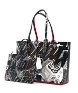 New Christian Louboutin Small Nicograf White Patent Black Leather Tote - $1,076.04
