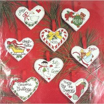 Patchwork Heart Ornaments Counted Cross Stitch Kit Janlynn 50964 Christm... - $15.99