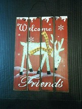 Wall Sign Christmas Welcome Friends Reindeer Xmas Holiday Decor Wood Gli... - $17.38