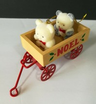 Vintage Avon Teddy Bears in a Wooden Wagon Christmas Tree Holiday Orname... - $6.85