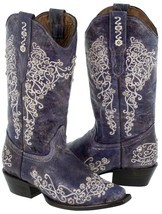 Womens Purple Distressed Leather Boots Cowboy Western Wedding Rhinestone... - £101.02 GBP