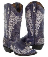Womens Purple Distressed Leather Boots Cowboy Western Wedding Rhinestones Snip - $171.38 CAD