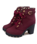 99b151 Lace up Martin booies, thick heel, size 5-9.5, burgundy - $42.80