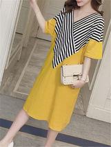 Maternity Dress Patchwork Color Block Stripes Batwing Sleeve V Neck Loose Dress image 4
