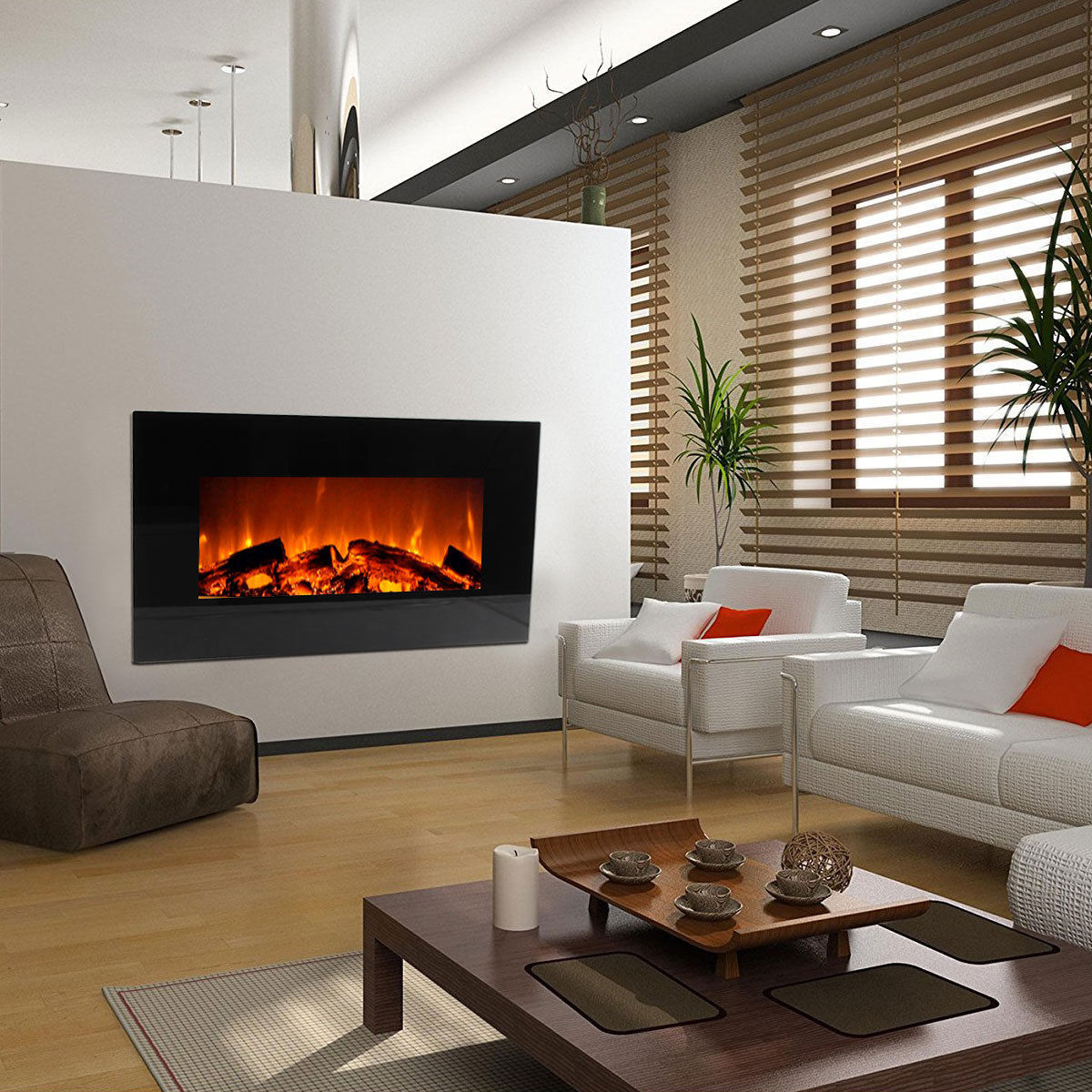 """Image of Modern Wall Mounted Electric Fireplace Stainless Steel Burner Insert w/Glass 33"""""""