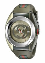 Gucci Sync YA137106 XXL Swiss Date Khaki Dial Khaki Rubber 46MM Unisex W... - $246.51