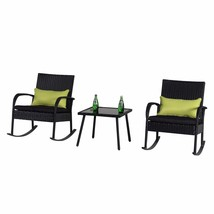 Outdoor 3 PC Rocking Chair Set Wicker Bistro, Black Cushion with Black R... - $159.99