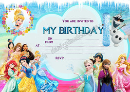 Disney Princess Frozen birthday party invitations pack 8 thick cards - $4.93