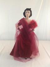 Franklin Mint Scarlett O Hara Gone With The Wind Porcelain Doll Red Velv... - $116.86