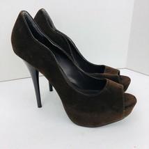 """Qupid Bown Velvet Shoes Open Toe Platform Stiletto 5.5"""" High Heel Sz 10 M - $39.59"""