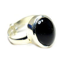Natural Black Onyx Silver Ring Jewelry Women Adjustable 8 Carat Stone SZ... - $35.94