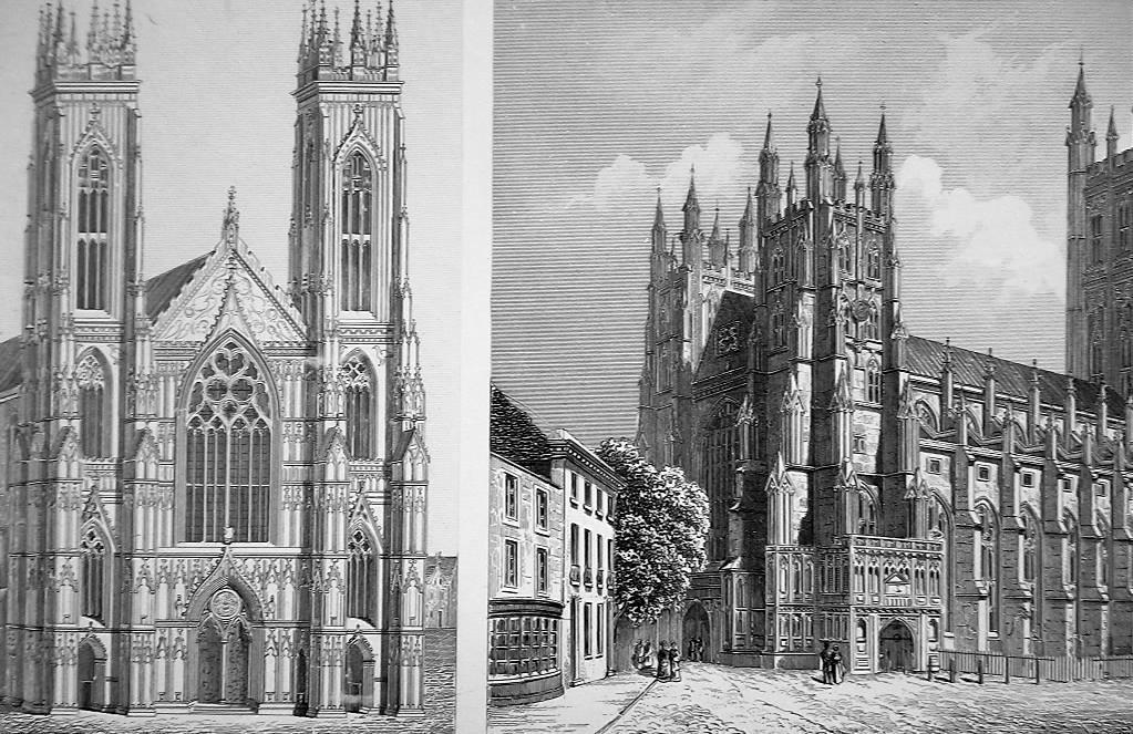 ARCHITECTURE English Cathedrals York Westminster Oxford - 1870 Engraving Print