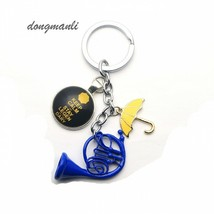 Yellow Umbrella Mother Blue French Horn Keychain Fashion Trendy Key Chains - $5.93+