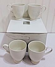 New MIKASA Avalon Ivory Footed Mug 4 Pc Set Coffee Tea Pedestal Cup Rare... - $38.21