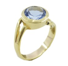 charming Blue Shappire CZ Gold Plated Blue Ring india US K,M,O,Q - $4.93