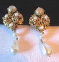 WESTERN GERMANY faux pearl dangle clip earrings - $35.00