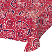 "Red Paisley 54"" x 108"" Plastic Tablecover, Case of 6 - €43,09 EUR"