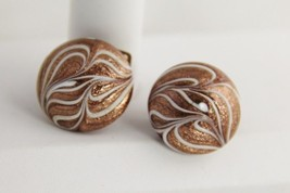 ANTIQUE Aventurine SWIRL FEATHER Art Glass VENETIAN MURANO BUTTON EARRINGS - $45.00