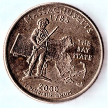 2000 P Massachusetts State Washington Quarter - Uncirculated Near Brillant - $1.25