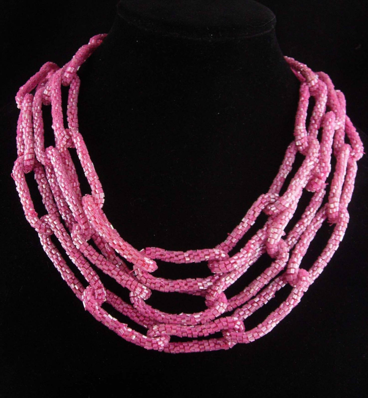 "80"" couture necklace - HUGE bugle bead chain  pink runway jewelry flapper chain"