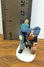 Christmas Village Accessory A Man with a Suitcase and Umbrella Resin VGCond.  - $6.92