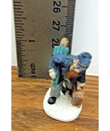 Christmas Village Accessory A Man with a Suitcase and Umbrella Resin VGC... - $6.92