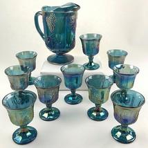 CARNIVAL GLASS PITCHER GOBLETS Vintage Harvest Blue Purple Grapes Vines ... - $100.23