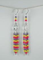 Chandelier Earrings, Handmade Long Purple Yellow Pink Glass Bead Silver ... - $30.00