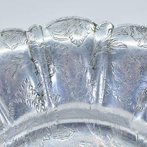 Vintage Hand Engraved Hammered Floral Pattern Silver-Tone Metal Serving Platter image 3