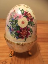 """Porcelain Painted Footed Egg Jewelry Box  7"""" X 12"""" - €9,82 EUR"""