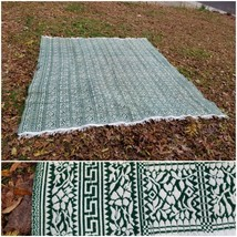 "Antique woolen fancy jacquard Green coverlet Primitive Decor 105""x117"" K... - $296.01"