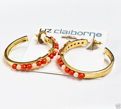 "Liz Claiborne High Polished Goldtone Pierced Beaded Earrings 1 3/4"" New ... - $9.99"