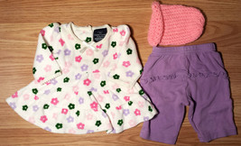 Girl's Size NB Newborn 3 Piece Cream Velour Floral L/S Dress, Purple Pan... - $18.00