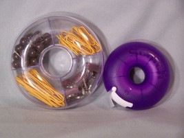 """Donut holders for scotch tape, paper clips, map tacks, and clips ( approx 4"""" ) - $5.10"""