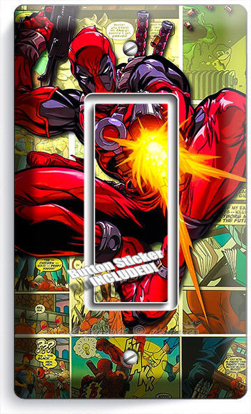 PERSONALIZED DEADPOOL LIGHT SWITCH OUTLET PLATE COVER HOME DECOR WALL ART