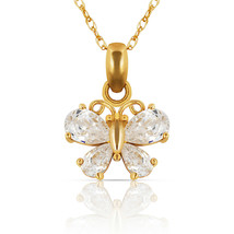 0.70CT Pear Cut Created Diamond Butterfly Charm Pendant Necklace 14K Yel... - $282.74+