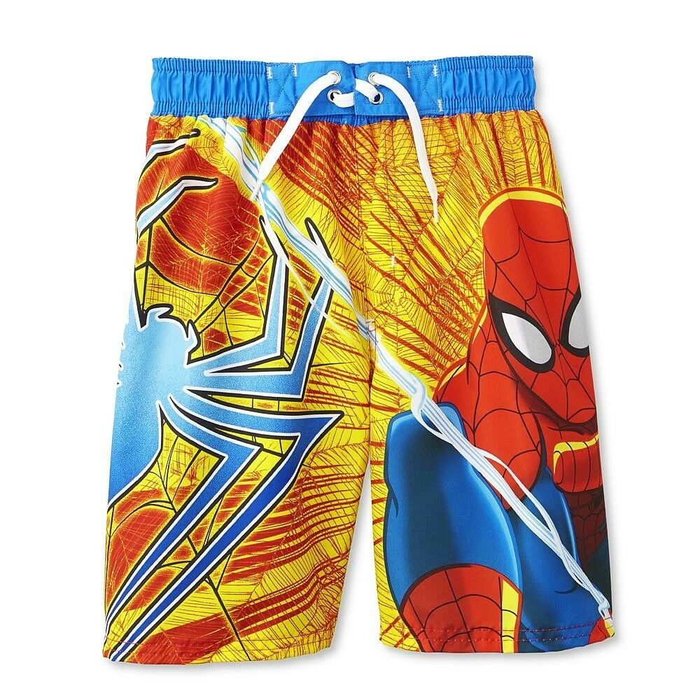 86308e3411 SPIDER-MAN MARVEL UPF-50+ Bathing Suit Swim Trunks NWT Boys Size 8 or 10/12