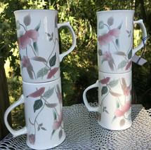 "MIKASA Continental Lot of 4 Cappuccino Cups 4 3/4"" Mugs SILK FLOWERS Pin... - $39.18"