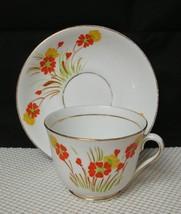 Vintage PHOENIX T.F.&S Bone China TEA CUP & SAUCER Hand Painted Orange F... - $11.63