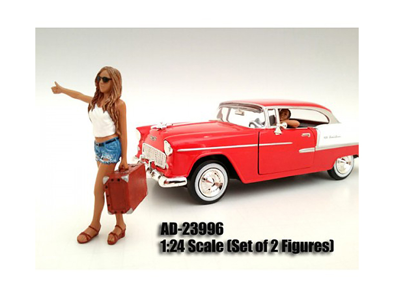 Hitchhiker 2 Piece Figure Set For 1:24 Scale Models by American Diorama