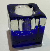 """Party Lite Thick 3"""" Square  Clear Blue Wave Glass Tealight Holder - Heavy - $34.07"""