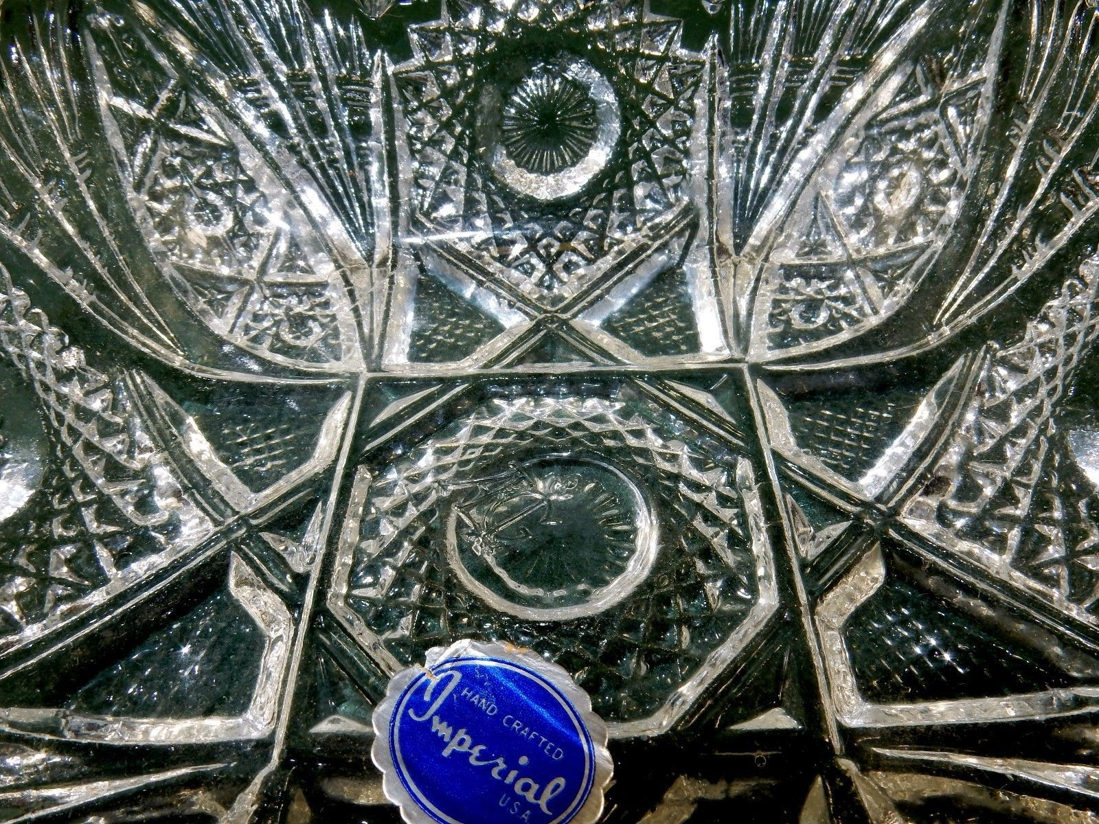 Imperial Square Glass Dish, Vintage 1982 Mark, Starbursts & Lines, Sawtooth Rim