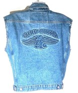 Harley Davidson Men's Vest Size Medium Cut Off Jacket Zip Up Button Down... - $75.74