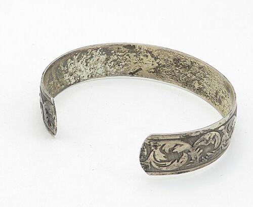 DANECRAFT 925 Silver - Vintage Antique Embossed Swirl Leaf Cuff Bracelet - B5633