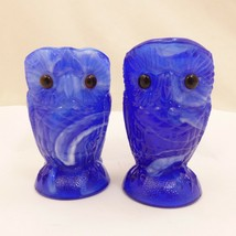 "NOS Vintage 3.5"" BLUE WHITE Slag Glass OWL Open Sugar & Creamer Imperial... - $24.77"