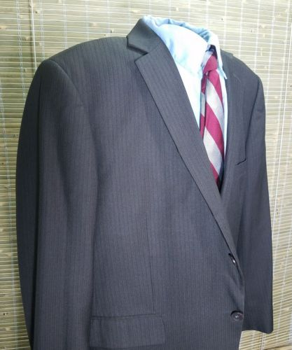 Perry Ellis Portfolio Men's Pin Striped Charcoal Black 2 buttons polyester 44S