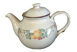 Vintage Teapot Corelle Corning Coordinates Stoneware Abundance Fruit 5 cup - $17.84